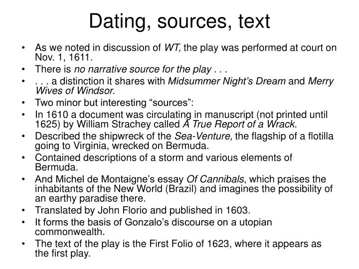Dating, sources, text