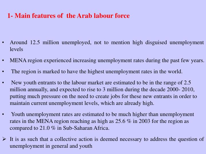 1- Main features of  the Arab labour force