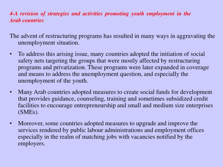4-A revision of strategies and activities promoting youth employment in the Arab countries