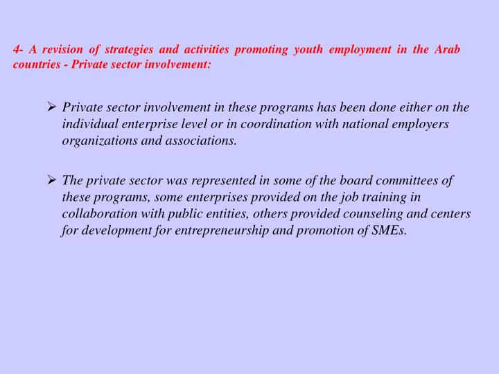 4- A revision of strategies and activities promoting youth employment in the Arab countries - Private sector involvement: