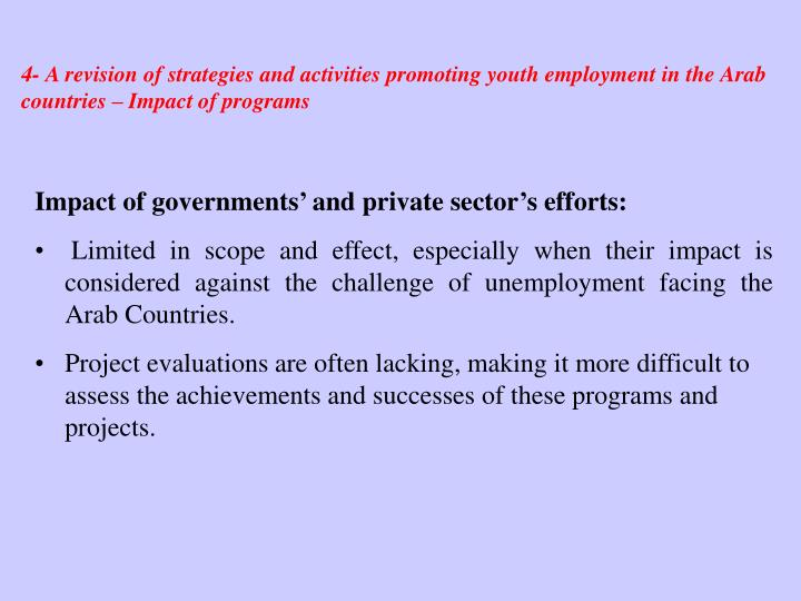 4- A revision of strategies and activities promoting youth employment in the Arab countries – Impact of programs