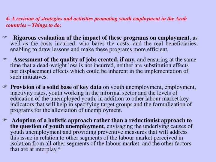 4- A revision of strategies and activities promoting youth employment in the Arab countries – Things to do: