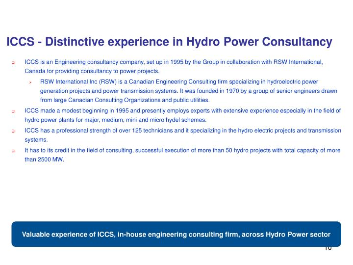 ICCS - Distinctive experience in Hydro Power Consultancy
