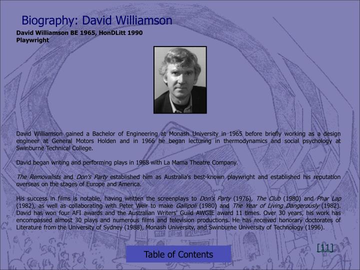 Biography: David Williamson