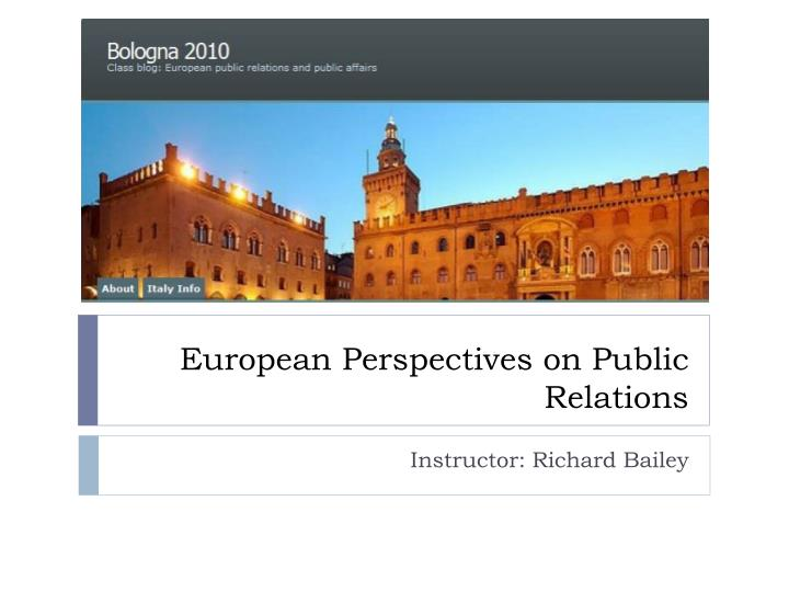 European perspectives on public relations