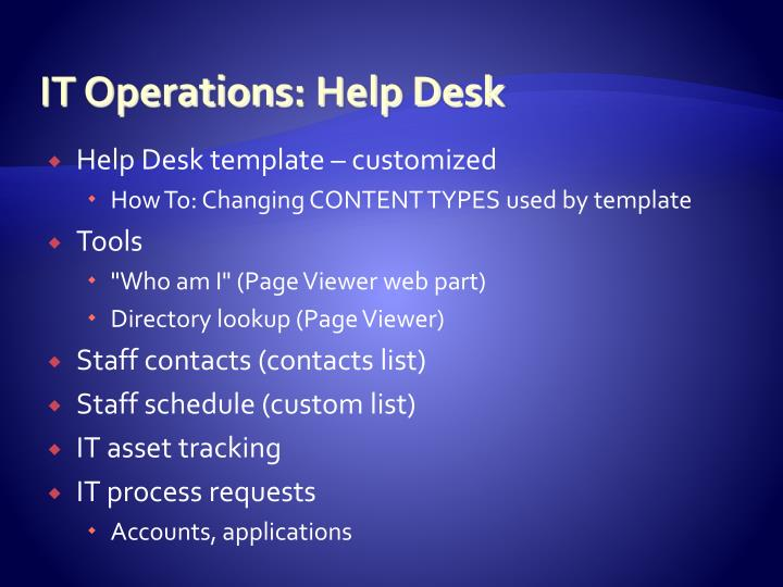 IT Operations	: Help Desk