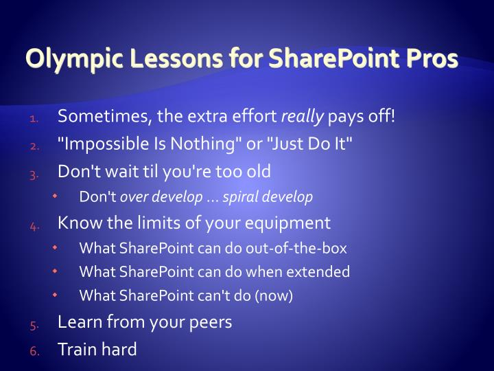 Olympic Lessons for SharePoint Pros