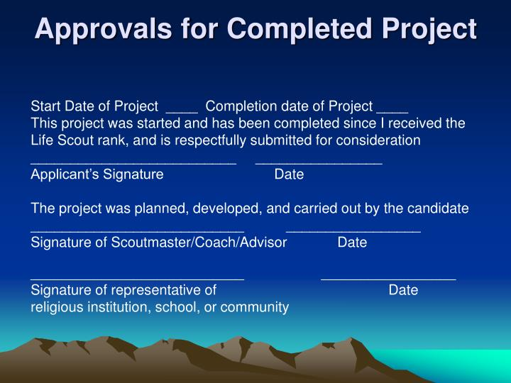 Approvals for Completed Project