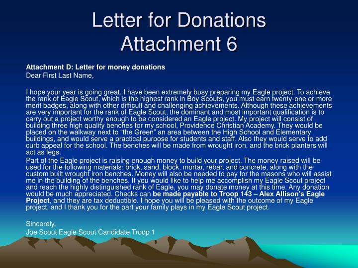 Letter for Donations
