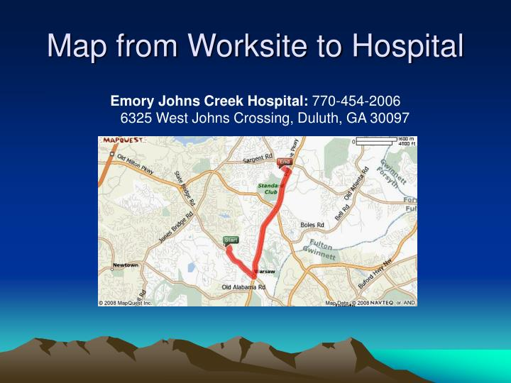 Map from Worksite to Hospital