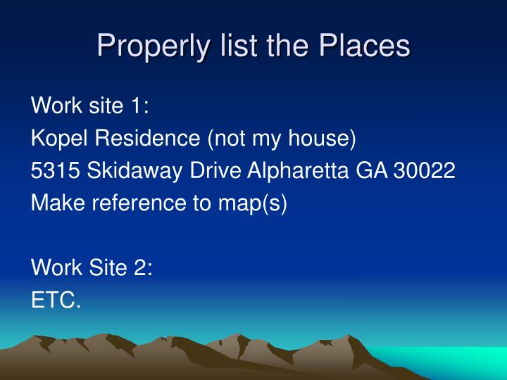 Properly list the Places
