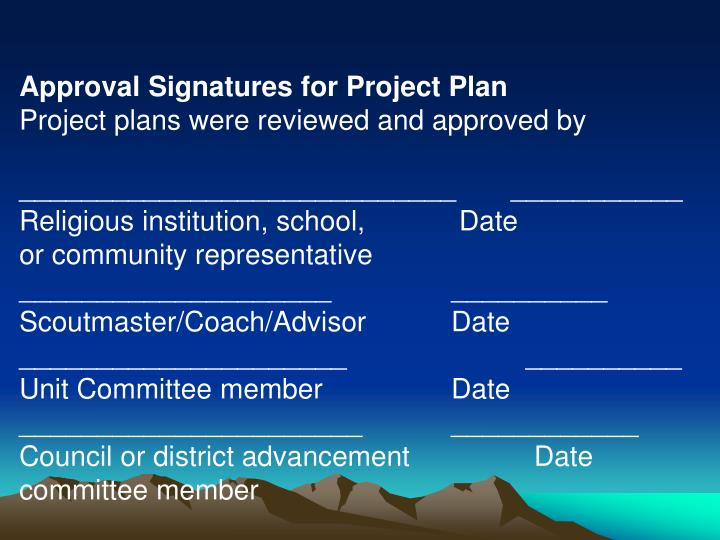 Approval Signatures for Project Plan
