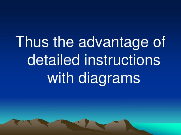 Thus the advantage of detailed instructions with diagrams