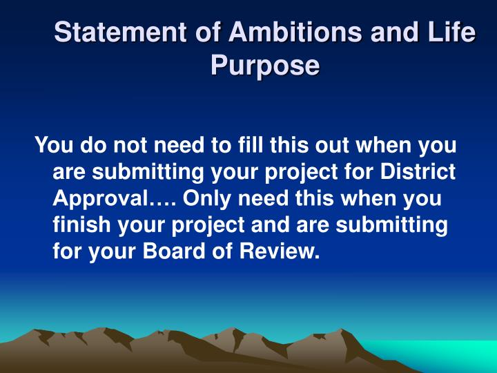 Statement of Ambitions and Life Purpose