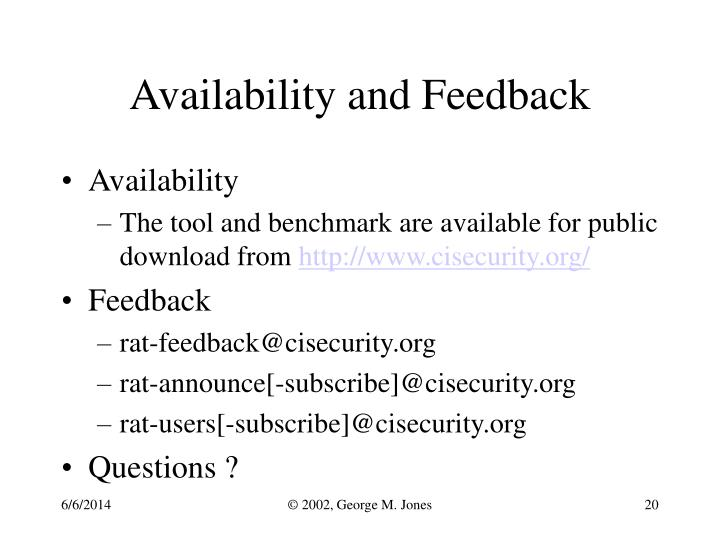 Availability and Feedback