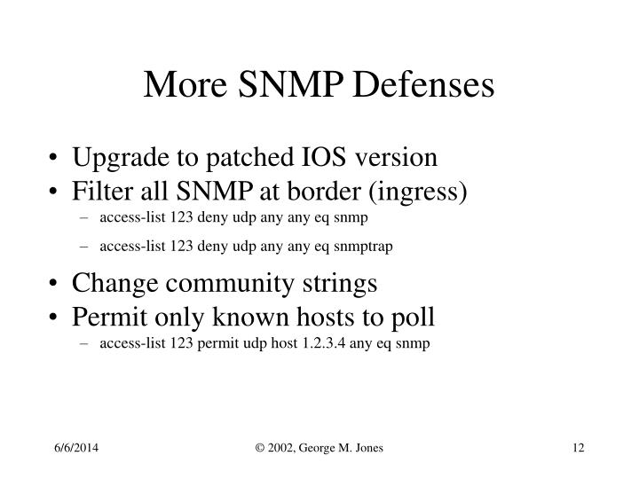 More SNMP Defenses