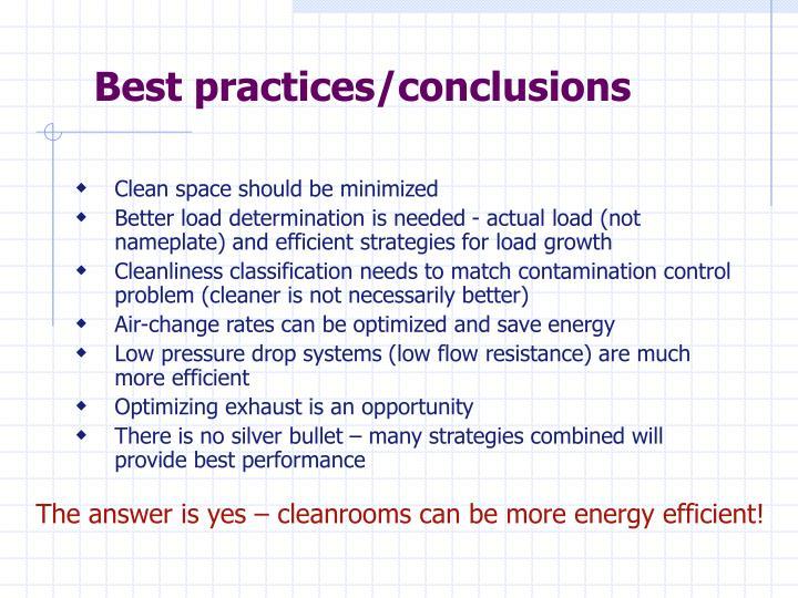Best practices/conclusions