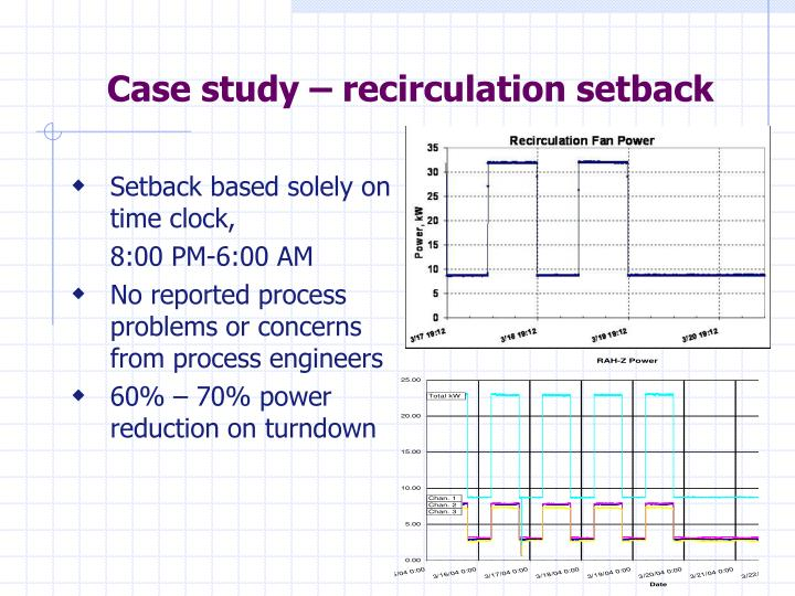 Case study – recirculation setback
