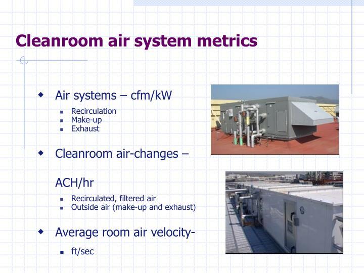 Cleanroom air system metrics