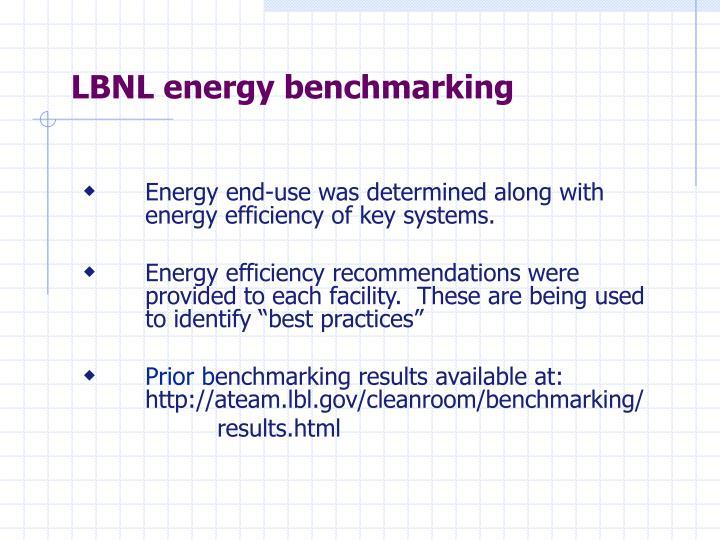 LBNL energy benchmarking