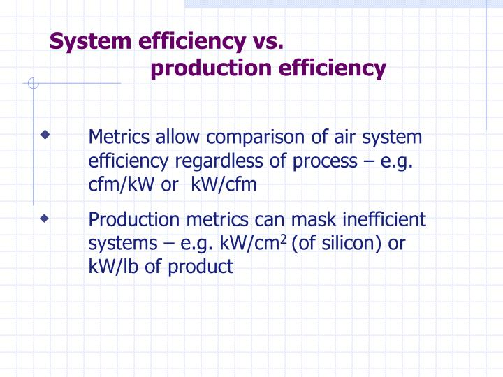 System efficiency vs.