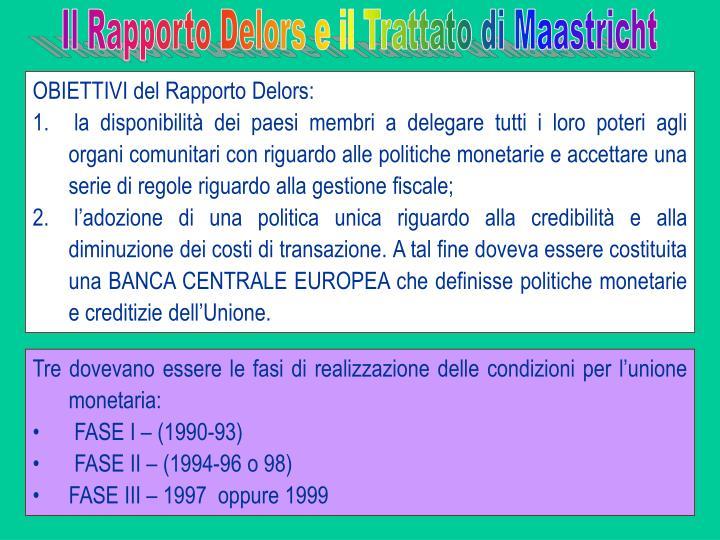 Il Rapporto Delors e il Trattato di Maastricht