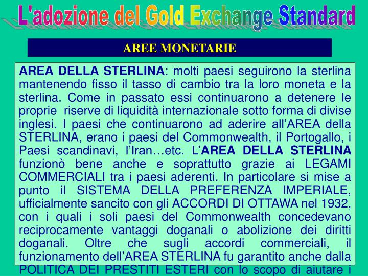 L'adozione del Gold Exchange Standard