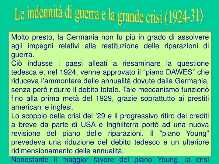 Le indennità di guerra e la grande crisi (1924-31)