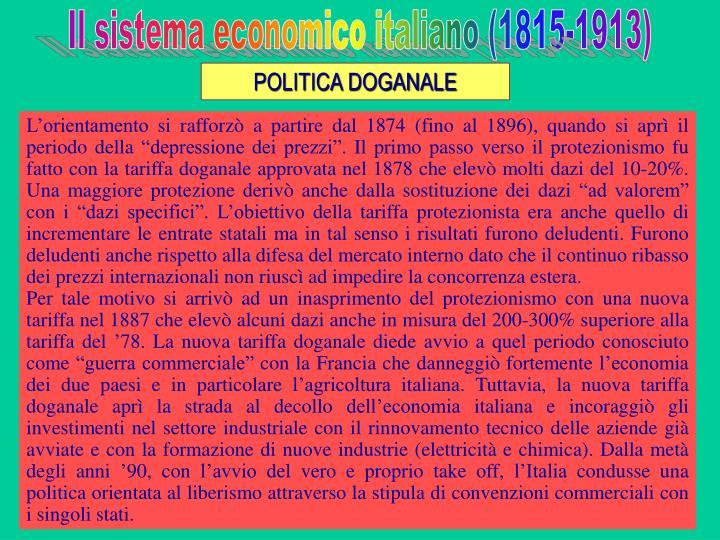 Il sistema economico italiano (1815-1913)