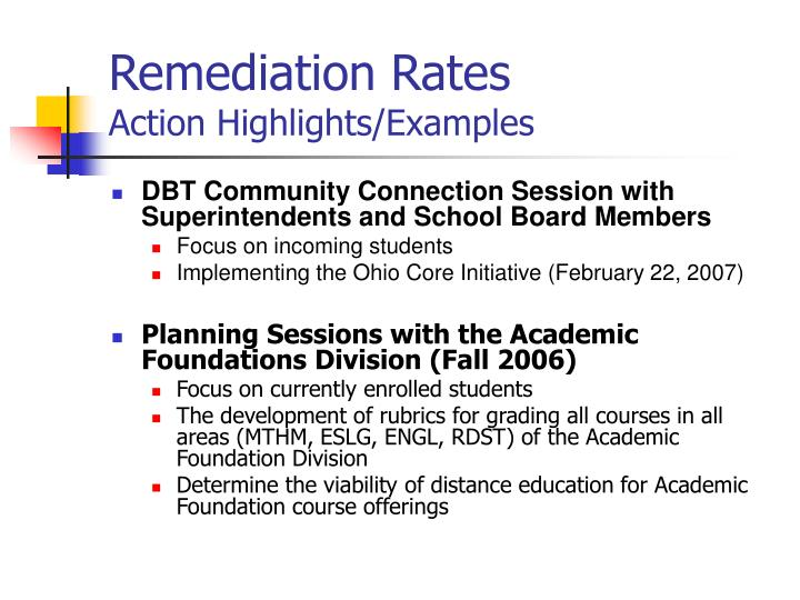Remediation Rates