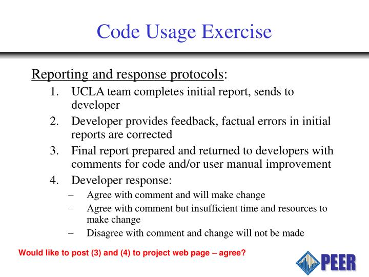 Code Usage Exercise