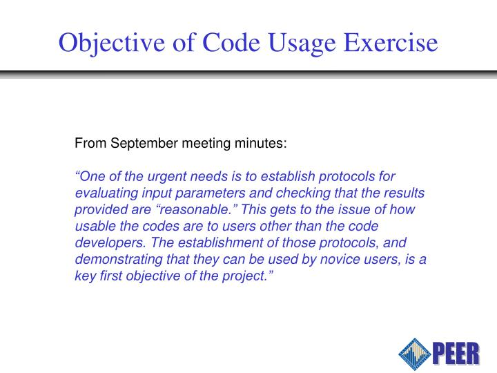 Objective of Code Usage Exercise