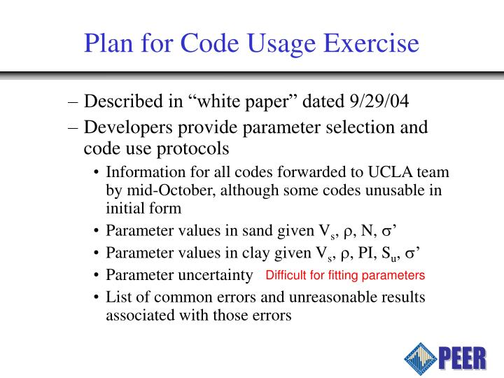 Plan for Code Usage Exercise