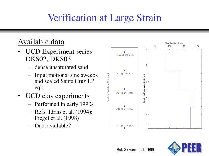 Verification at Large Strain