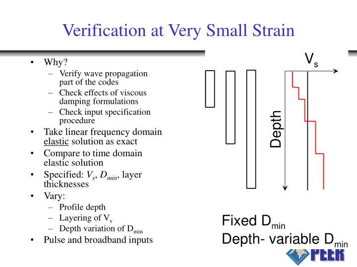 Verification at Very Small Strain