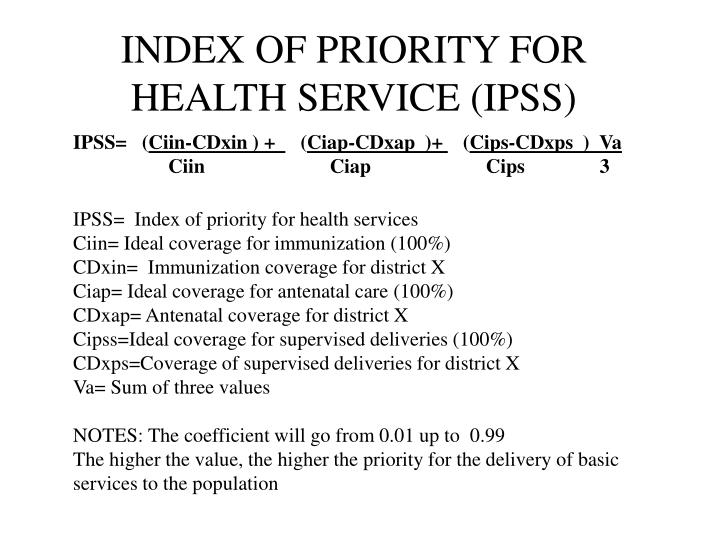 INDEX OF PRIORITY FOR HEALTH SERVICE (IPSS)