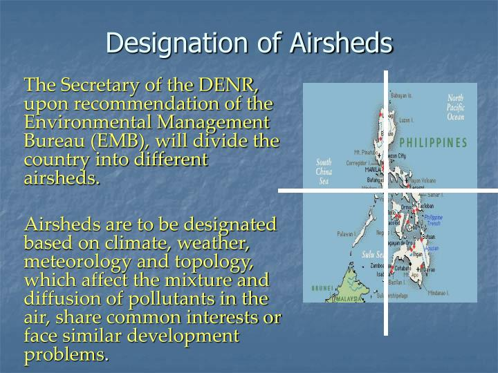 Designation of Airsheds
