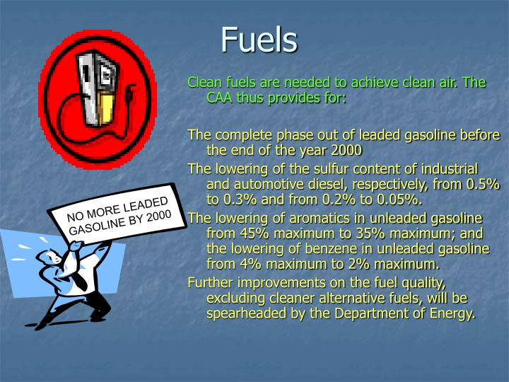 NO MORE LEADED GASOLINE BY 2000