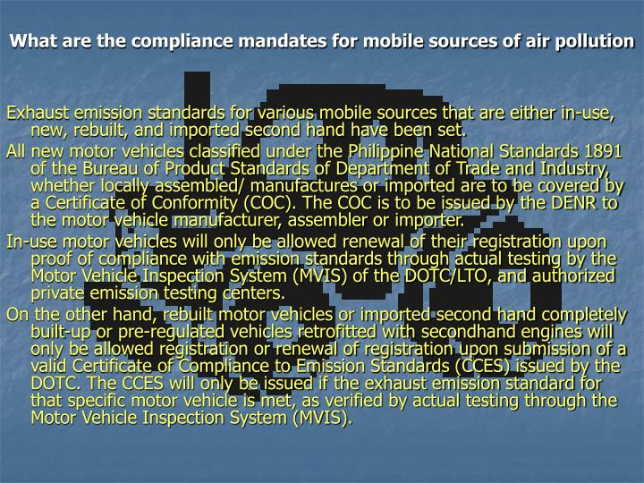 What are the compliance mandates for mobile sources of air pollution