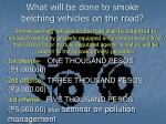 what will be done to smoke belching vehicles on the road