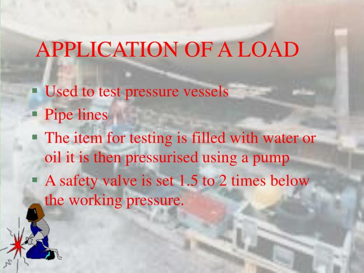 APPLICATION OF A LOAD