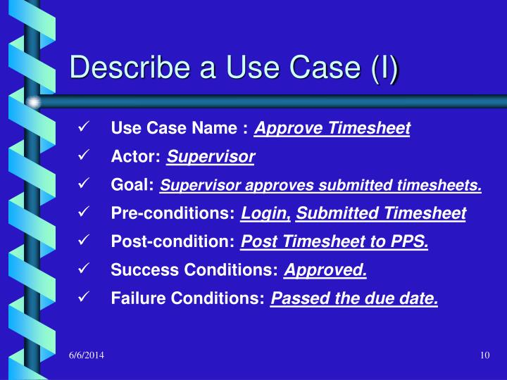 Describe a Use Case (I)