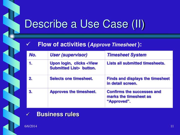 Describe a Use Case (II)