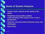goals of system analysis