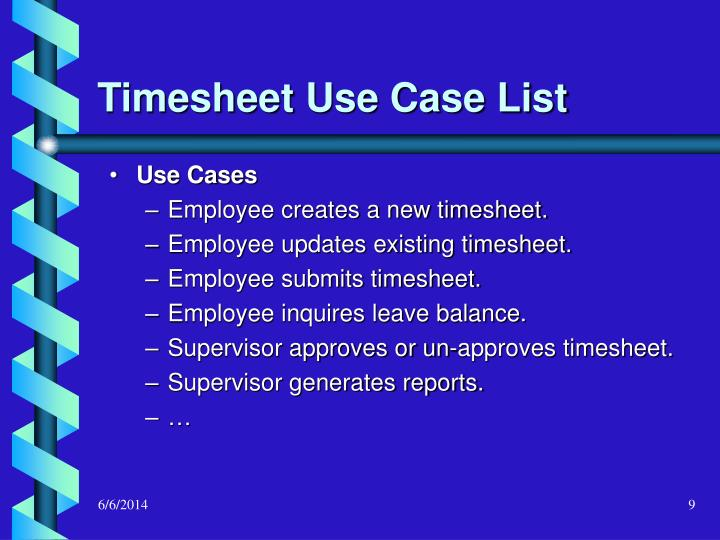 Timesheet Use Case List