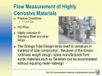 flow measurement of highly corrosive materials
