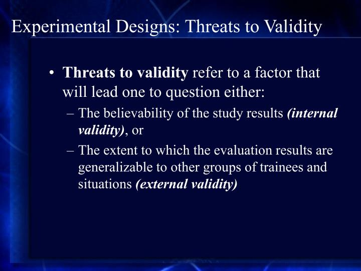 Experimental Designs: Threats to Validity