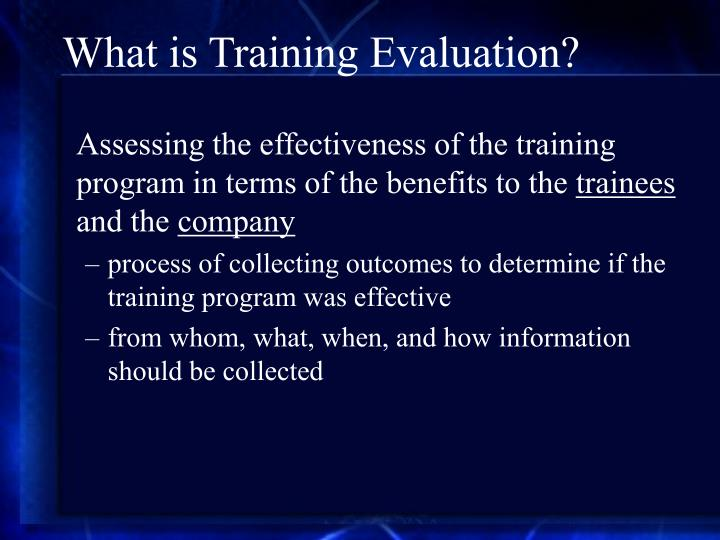 What is Training Evaluation?