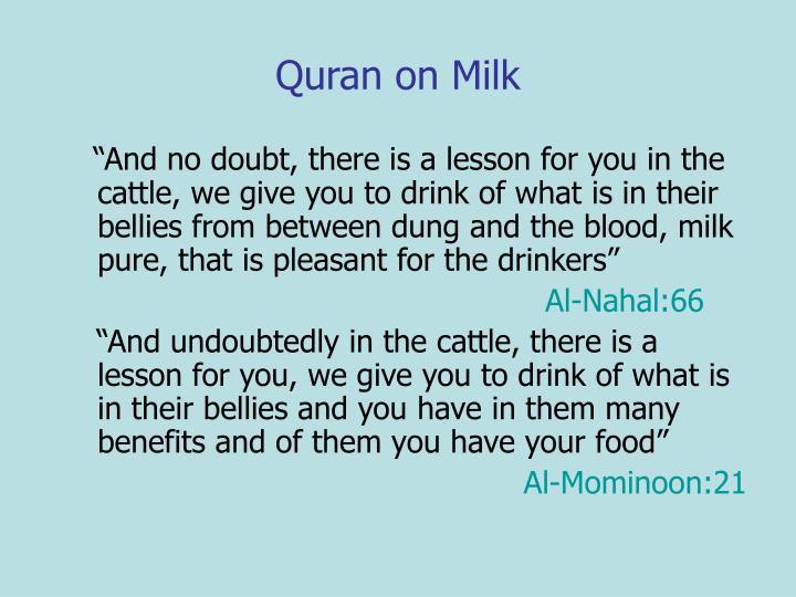 Quran on Milk