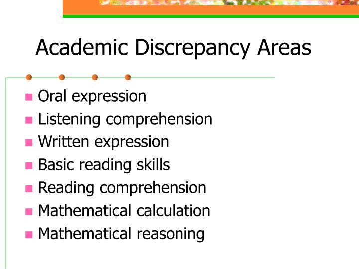 Academic Discrepancy Areas